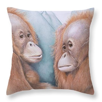 In Safe Hands - Orang Utans Throw Pillow