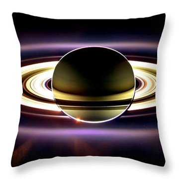 In Saturn's Shadow Throw Pillow by Benjamin Yeager