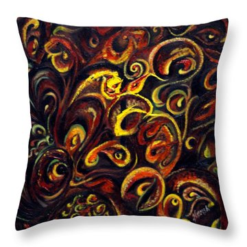 Throw Pillow featuring the painting In Search Of  Ultimate Truth by Harsh Malik