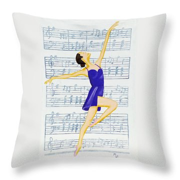 Throw Pillow featuring the painting In Sync With The Music by Margaret Harmon
