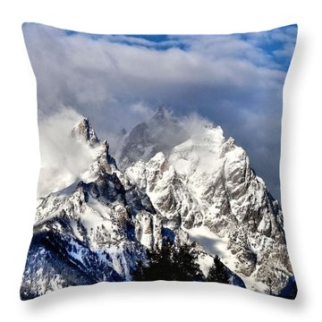 The Teton Range Throw Pillow