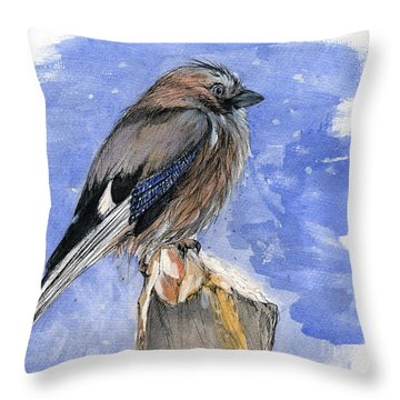 In The Cold Winter Night Throw Pillow by Angel  Tarantella