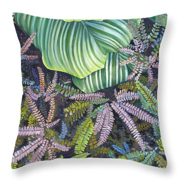 In The Conservatory - 4th Center - Green Throw Pillow