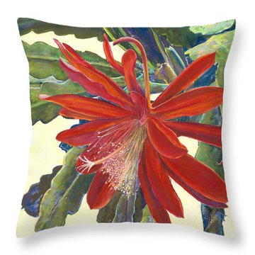 In The Conservatory - 1st Center - Red Throw Pillow
