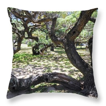 In The Depth Of Enchanting Forest V Throw Pillow by Jenny Rainbow