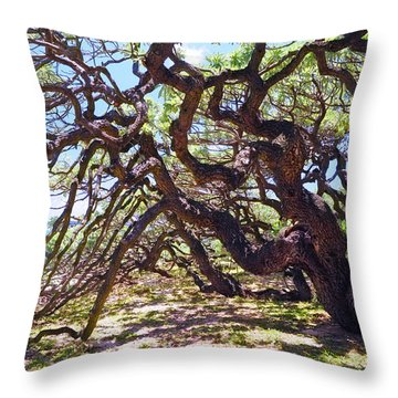 In The Depth Of Enchanting Forest Vii Throw Pillow by Jenny Rainbow