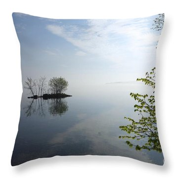 In The Distance On Mille Lacs Lake In Garrison Minnesota Throw Pillow
