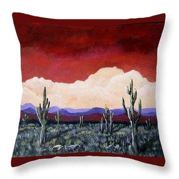 Throw Pillow featuring the painting In The Distance by Suzanne Theis