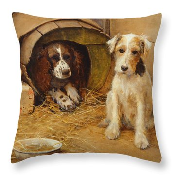 In The Dog House Throw Pillow by Samuel Fulton