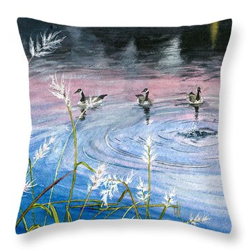 Throw Pillow featuring the painting In The Dusk by Melly Terpening