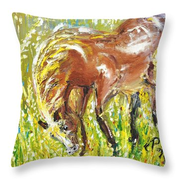 In The Field Throw Pillow by Evelina Popilian