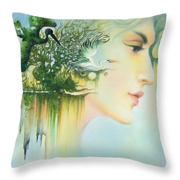 In The Fluter Of Wings-in The Silence Of Thoughts Throw Pillow