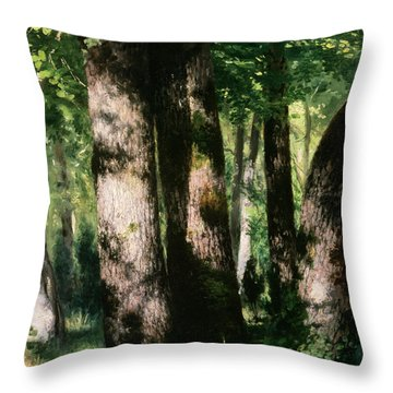 In The Forest Of Fontainebleau Throw Pillow by Pierre Auguste Renoir