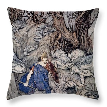 In The Forked Glen Into Which He Slipped At Night-fall He Was Surrounded By Giant Toads Throw Pillow by Arthur Rackham