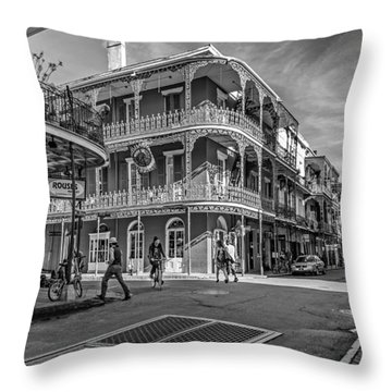 In The French Quarter Monochrome Throw Pillow by Steve Harrington