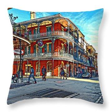 In The French Quarter Painted Throw Pillow by Steve Harrington
