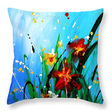 Throw Pillow featuring the painting In The Garden by Kume Bryant