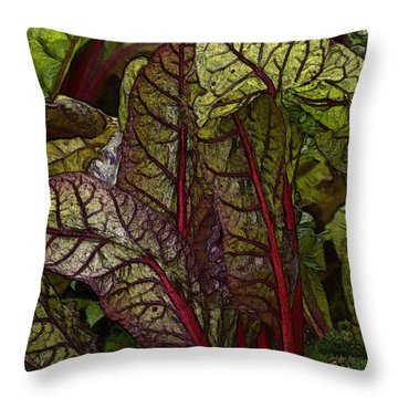 In The Garden - Red Chard Jungle Throw Pillow
