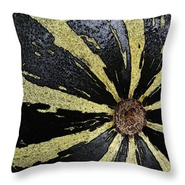 In The Garden - Striped Melon Throw Pillow by Nadalyn Larsen
