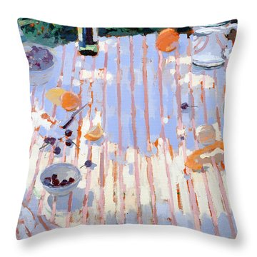 In The Garden Table With Oranges  Throw Pillow by Sarah Butterfield