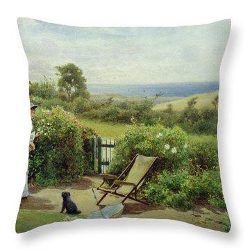 In The Garden Throw Pillow by Thomas James Lloyd