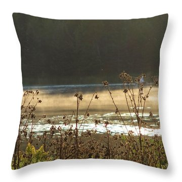 In The Golden Light Throw Pillow by Mary Wolf