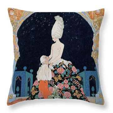 In The Grotto Throw Pillow by Georges Barbier