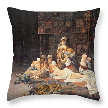 In The Harem Throw Pillow by Jose Gallegos Arnosa