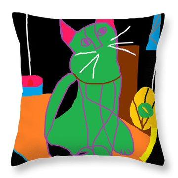 Throw Pillow featuring the painting In The Kitchen At Night by Anita Dale Livaditis