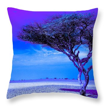 In The Middle Of Nowhere Under A Purple Sky Throw Pillow