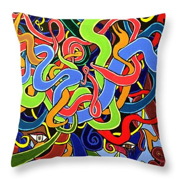 Colorful Abstract Art Painting, African Goddess Art, Creation, Energy, Afrofuturism, Cosmigalaxy Throw Pillow