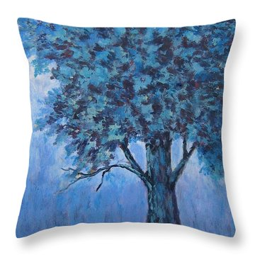 Throw Pillow featuring the painting In The Mist by Suzanne Theis