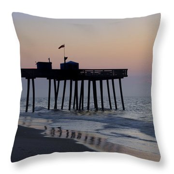 In The Morning On The Beach Ocean City Throw Pillow by Bill Cannon