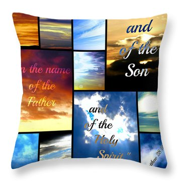 In The Name Of The Father Son Holy Spirit Throw Pillow by Sharon Soberon