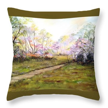 In The Park Throw Pillow by Dorothy Maier