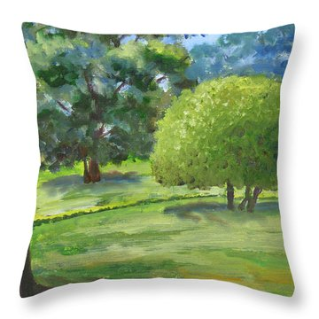 In The Park Throw Pillow by Mini Arora