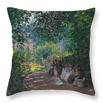 In The Park Monceau Throw Pillow by Cluade Monet