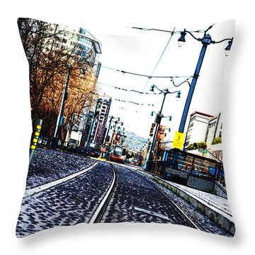 In The Path Of A Cable Car Throw Pillow by Holly Blunkall