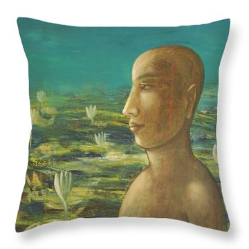 In The Realm Of Buddha Throw Pillow by Mini Arora