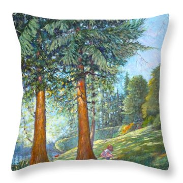 Throw Pillow featuring the painting In The Shade by Charles Munn