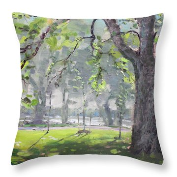 In The Shade Of The Big Tree Throw Pillow by Ylli Haruni
