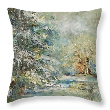 In The Snowy Silence Throw Pillow by Mary Wolf