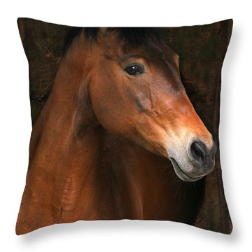 In The Stable Throw Pillow by Angel  Tarantella