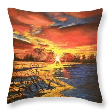 Throw Pillow featuring the painting In The Still Of Dawn-2 by Sharon Duguay