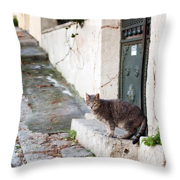 Throw Pillow featuring the photograph In The Streets Of Athens by Laura Melis