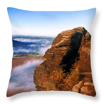 In The Sun Glowing Rock On The Lilienstein Throw Pillow