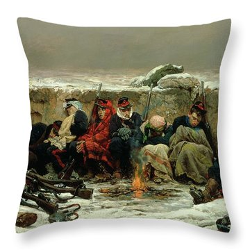 In The Trenches Throw Pillow by Alphonse Marie de Neuville