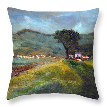 Throw Pillow featuring the painting In The Tuscan Hills by Michael Helfen