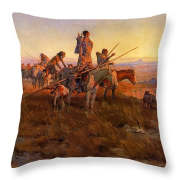 In The Wake Of The Buffalo Hunters Throw Pillow by Charles Russell