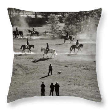 Throw Pillow featuring the photograph In The Warm Up by Joan Davis